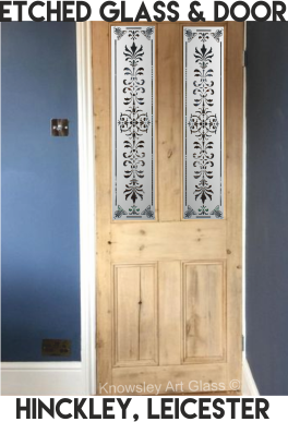 etched glass and wooden door leicester