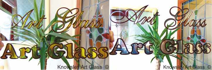 Gold Lead Glass Sign Silver Logo